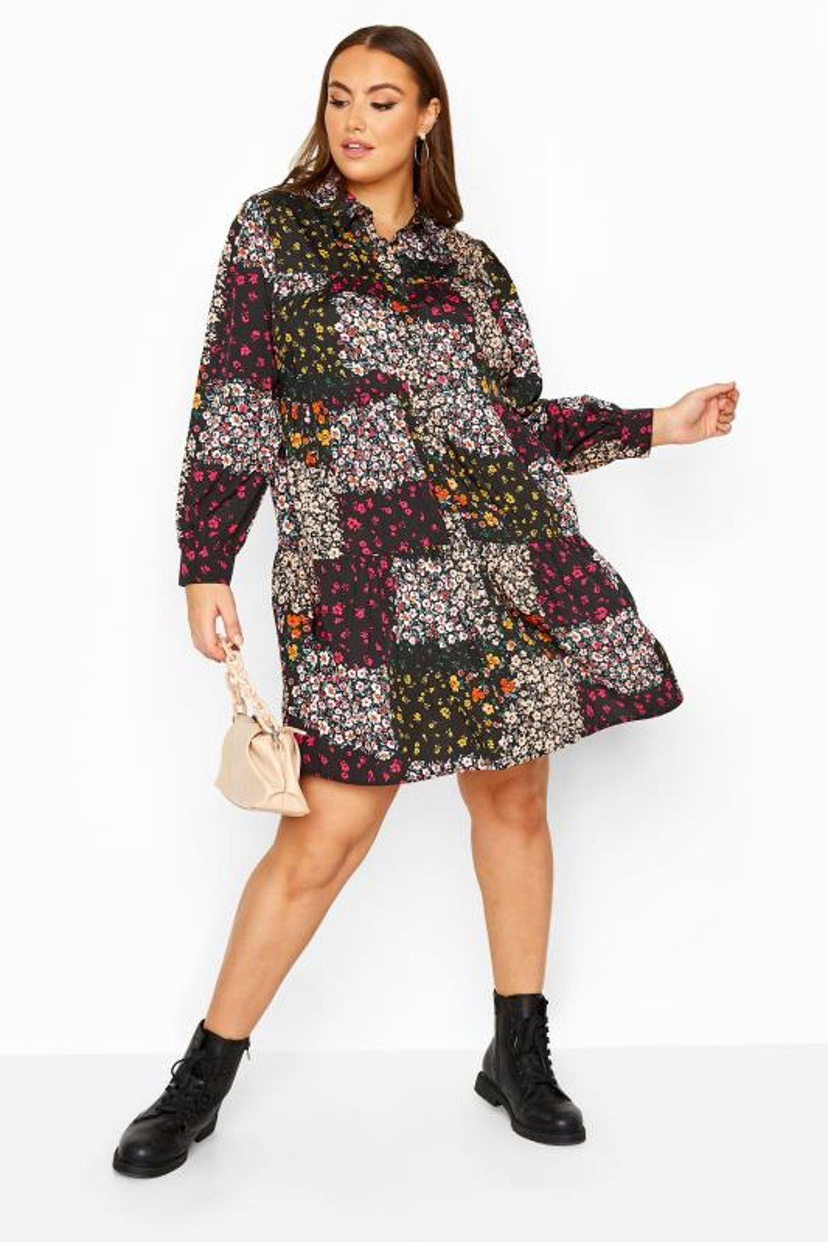Yours Clothing Black Floral Patchwork Shirt Dress