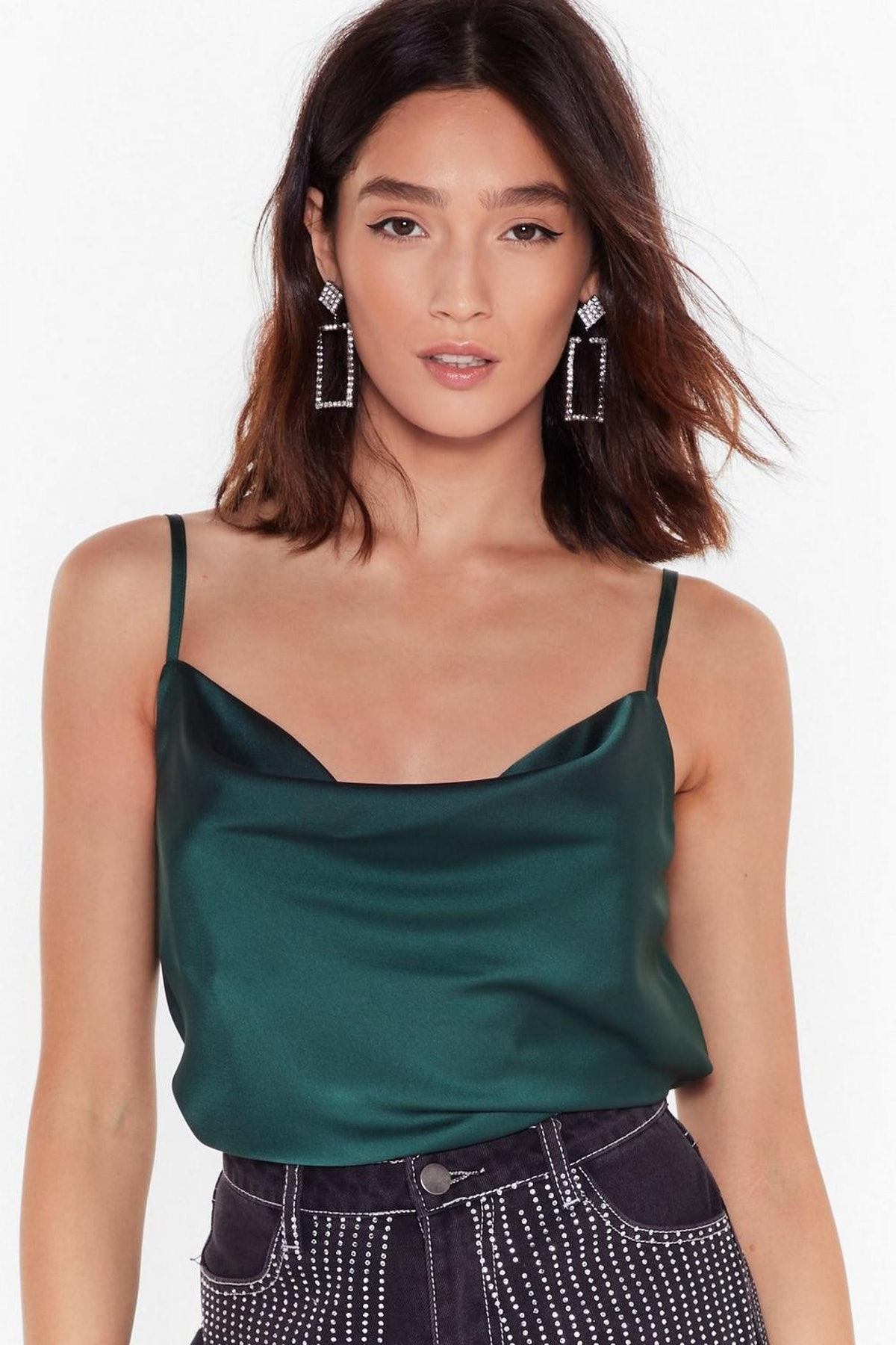 Nasty Gal Don't Cowl Your Ex Satin Cami Top