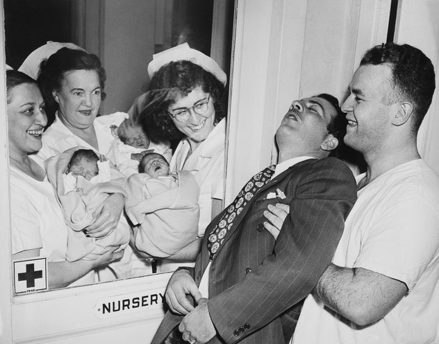 Dad surprised with triplets