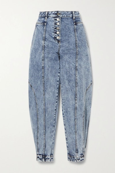 Brodie acid-wash high-rise tapered jeans