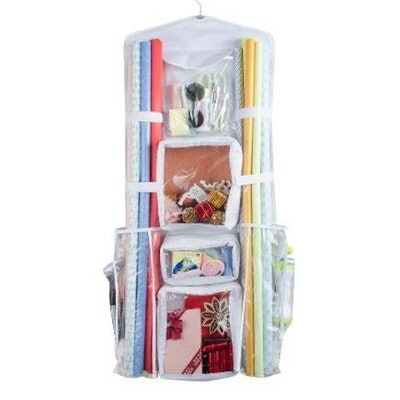 Double Sided Hanging Wrapping Paper Storage, Wrapping Paper Organize