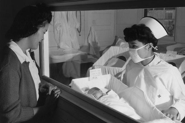 A 1930s internment camp maternity ward photo.