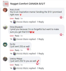 Screenshot of a post in the Nugget comfort Canada B/S/T group showing people's comments letting the author know they sent her money for the bid.