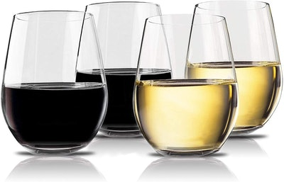 Vivocci Unbreakable Elegant Plastic Stemless Wine Glasses (4-Pack)