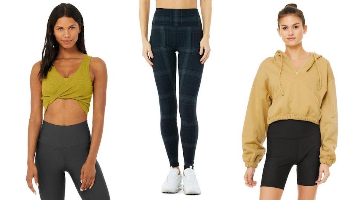 Alo Yoga's tank top, leggings, and hoodie being modeled.
