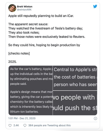 Apple is reportedly planning to put an election car into production by 2025.