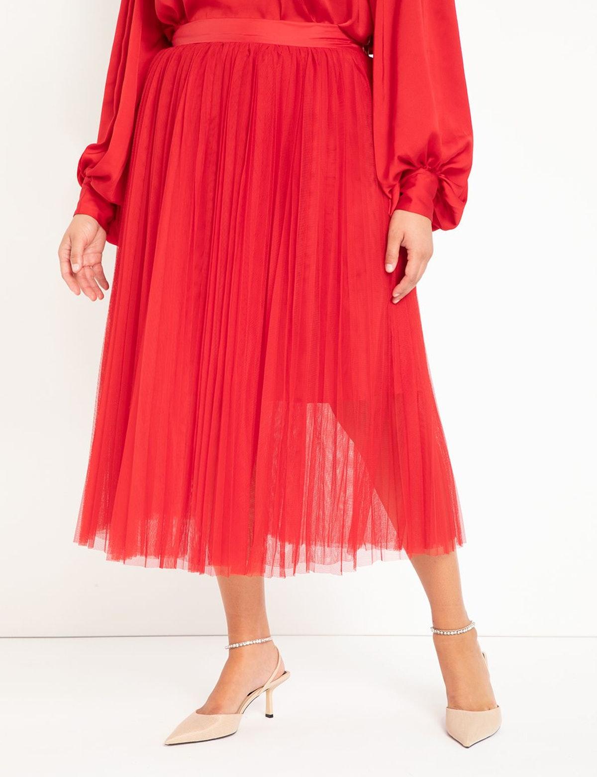 Eloquii Pleated Tulle Skirt