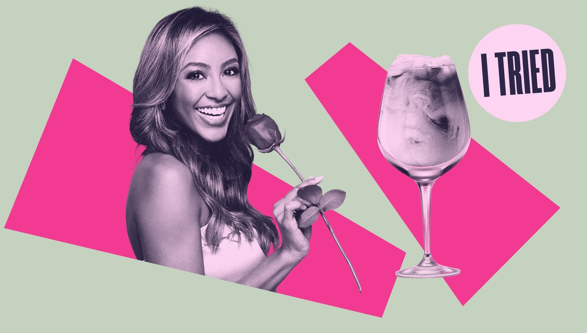 Bachelorette Tayshia Adams and her iced coffee in a wine glass