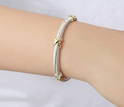 UNY Cross Cable Wire Bangle Bracelet