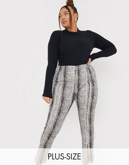 In The Style Plus x Lorna Luxe Skinny Pants in Faux Snake Print