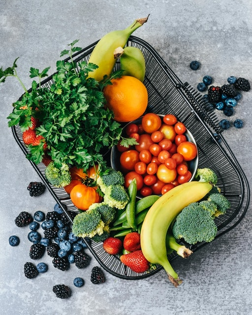 Basket of fresh fruits and vegetables.