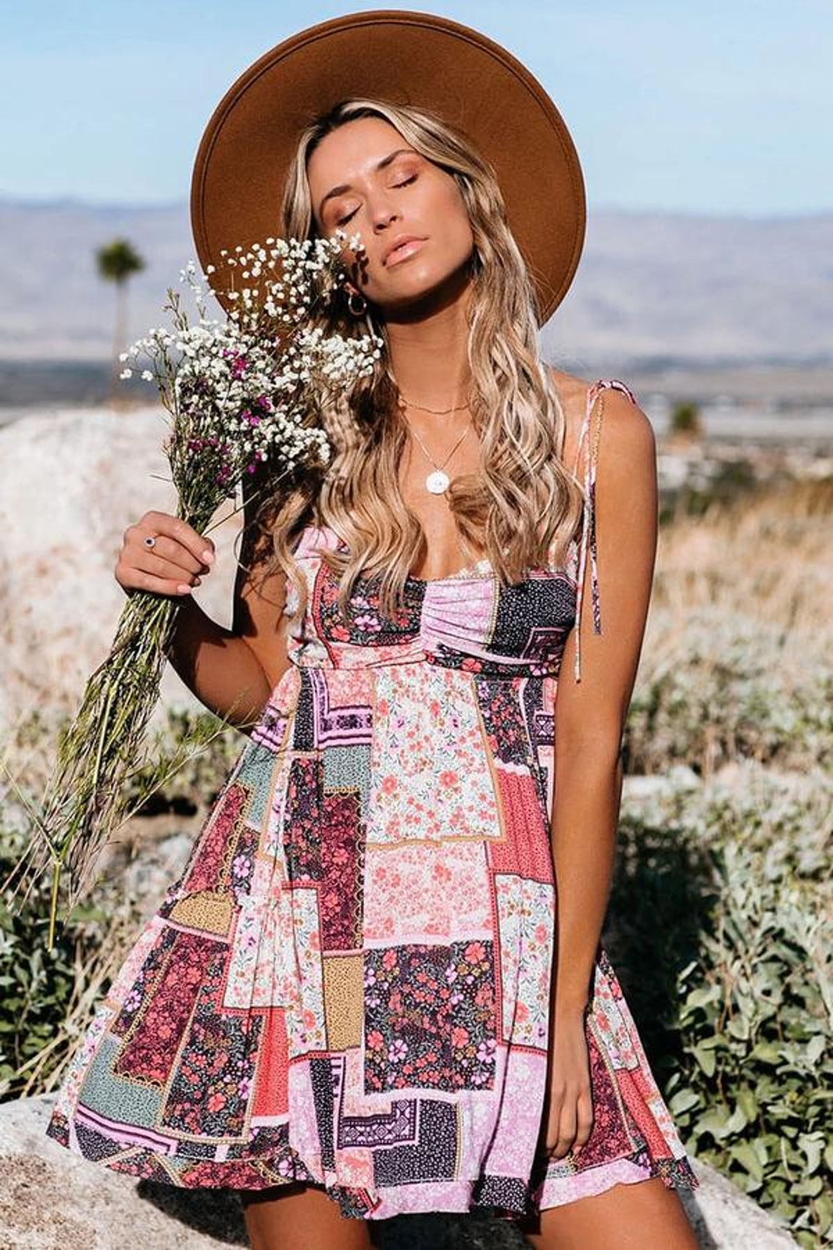 Rosedress Flowy Spaghetti Strap Patchwork Ditsy Floral Mini Boho Chic DressD
