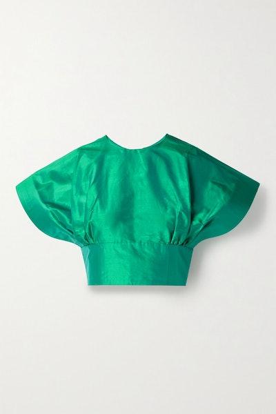 Christopher John Rogers Cropped Silk-Taffeta Top
