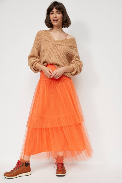 Anthropologie Evelyn Tulle Midi Skirt