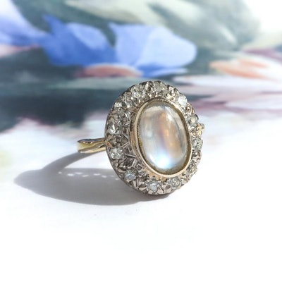 Art DecoMoonstone Diamond Halo Vintage Engagement Ring