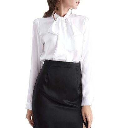 LilySilk Bow-Tie Neck Silk Blouse