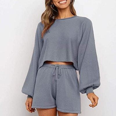ZESICA Long Sleeve Short Sweatsuit