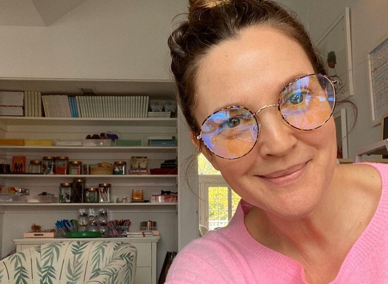 Drew Barrymore's home features two wallpaper prints in one room