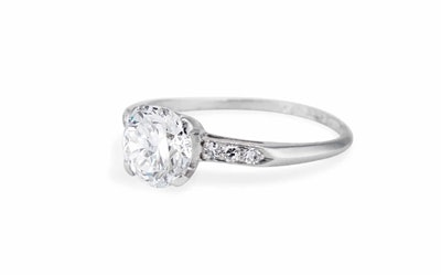 Art Deco Platinum And Platinum Solitaire Ring