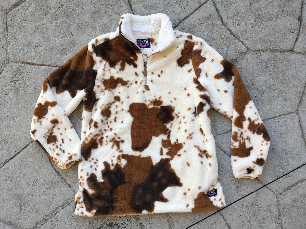 TouchofSouthStore Cow Print Sherpa Pullover