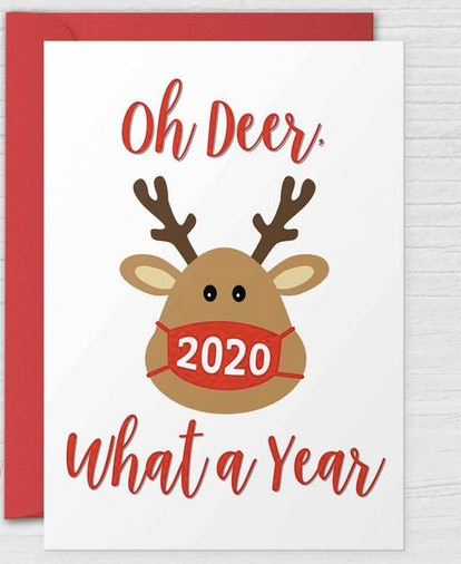 Oh Deer What a Year Printable Funny 2020 Christmas Card