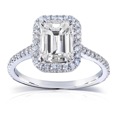 Annello by Korbelli 14K White Gold 2 Ct Emerald-Cut Moissanite and Diamond Engagement Ring