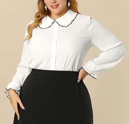 Allegra K Ruffle Peter Pan Collar Button-Up Shirt