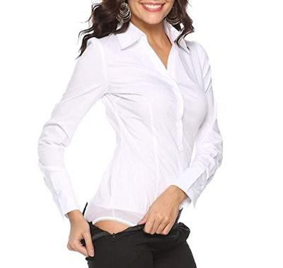 Soojun Long-Sleeve Button-Up Shirt Bodysuit