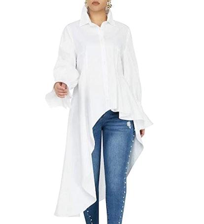 YouSexy High-Low Asymmetrical Button-Down Shirt