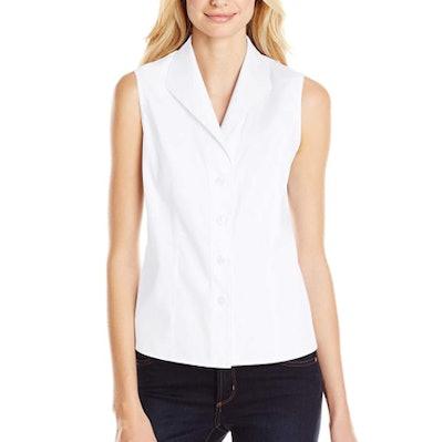 Calvin Klein Sleeveless Wrinkle-Free Button-Down Shirt