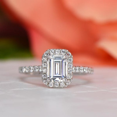 1.25 CTW Emerald Halo Ring