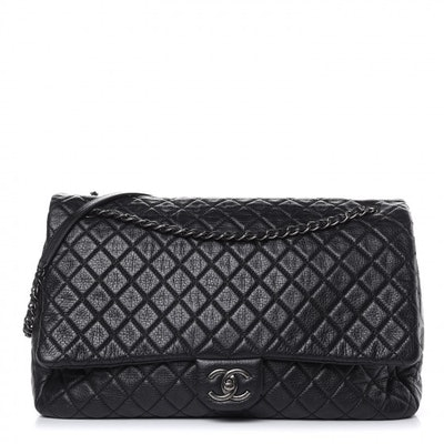 Calfskin Quilted XXL Travel Flap Bag Black
