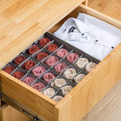 Qozary Sock Drawer Organizer (2 Pack)