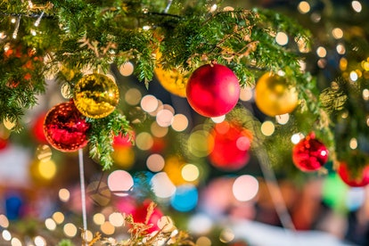 closeup of christmas ornaments hanging from a tree