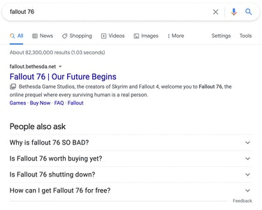 A screenshot of the Google results for 'Fallout '76'