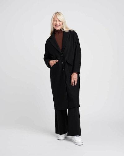 Willow Wool Cocoon Coat - Black