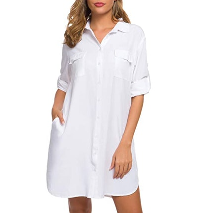 LUSMAY Button-Down Shirtdress with Pockets