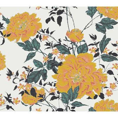 Vintage Floral Yellow Peel & Stick Wallpaper