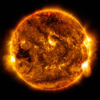 The Sun emitted a mid-level solar flare, peaking at 8:13 p.m. EDT on Oct. 1, 2015.