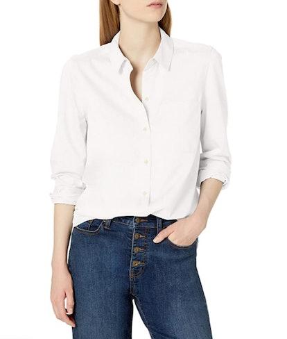 Daily Ritual Knit Long-Sleeve Button-Down Shirt