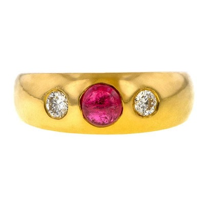Vintage Cabochon Ruby & Diamond Ring