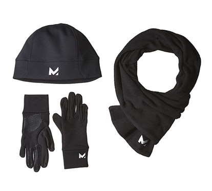 Mission RadiantActive Performance Beanie/Scarf/Glove Set, Black