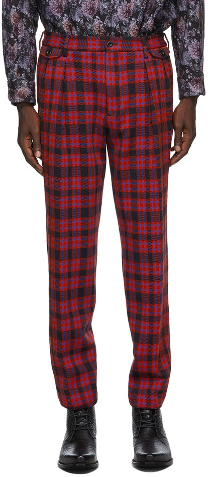 Red Plaid Inverted Pleat Trousers $352 USD