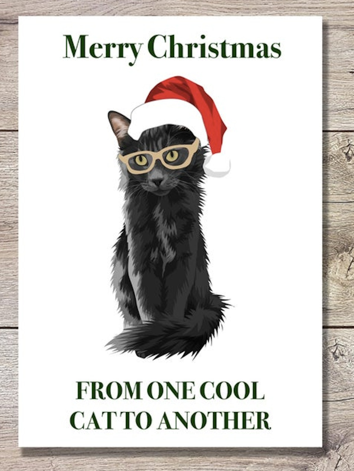 Printable Christmas Card of Funny Cat