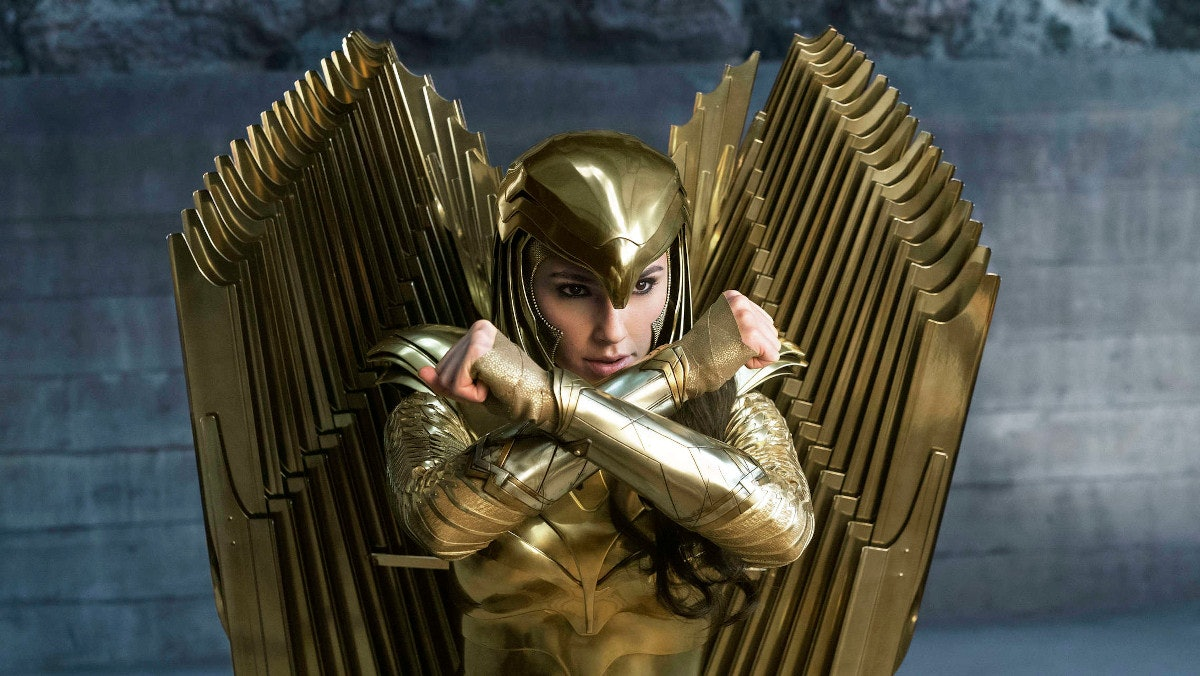 Gal Gadot's Diana Prince/Wonder Woman wearing her Golden Eagle armor in Wonder Woman: 1984.