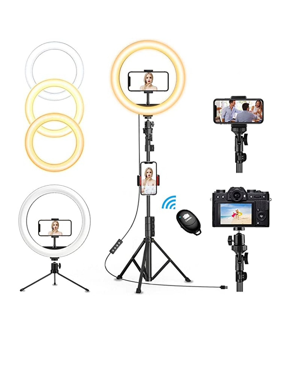 """QI-EU 12"""" Selfie Ring Light with Tripod Stand & Cell Phone Holder"""