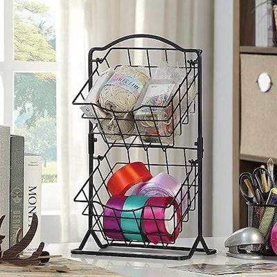 SunnyPoint 2-Tier Mini Countertop Fruit Storage Basket