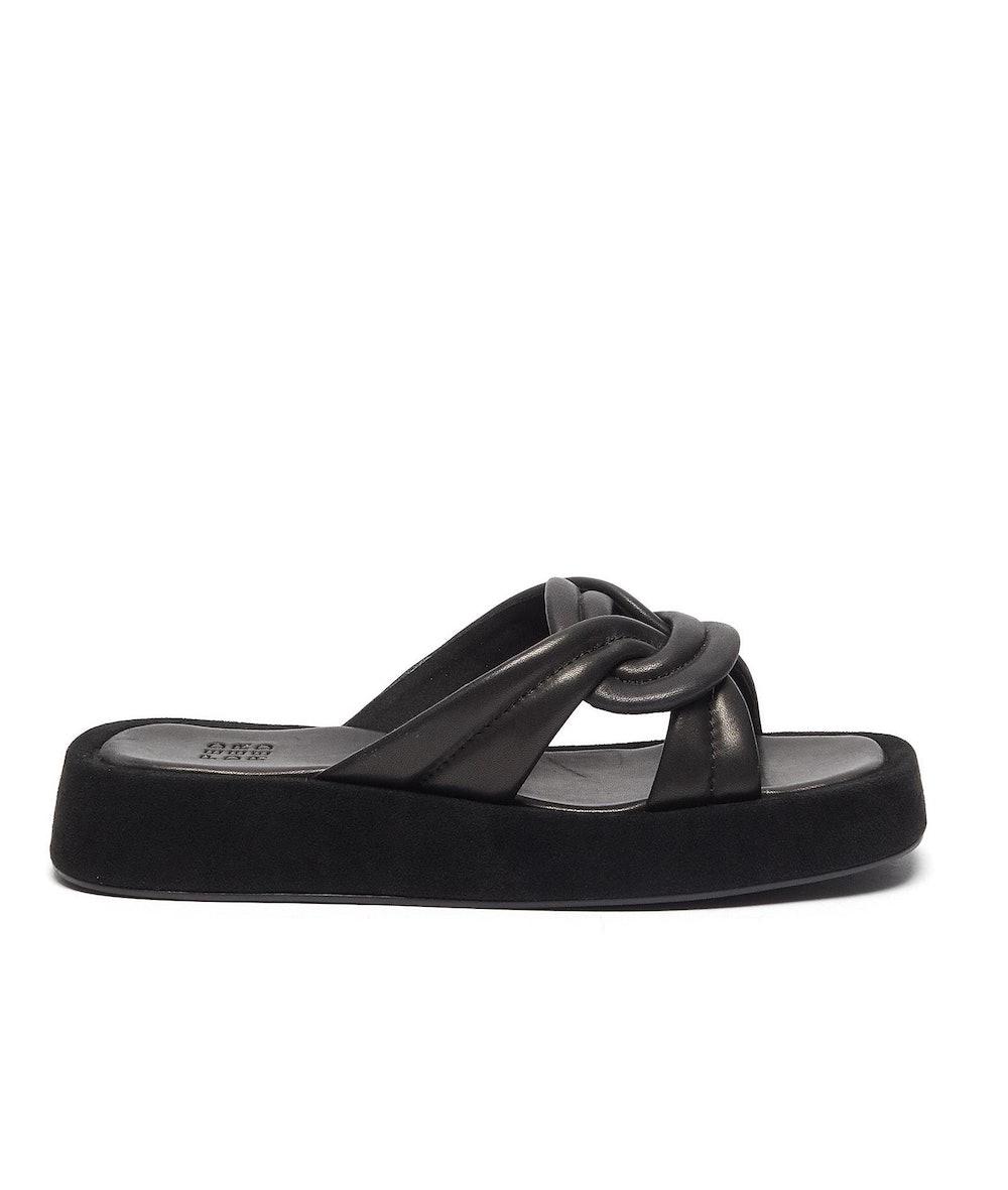 Delilah Puffy Leather Flatform Sandals