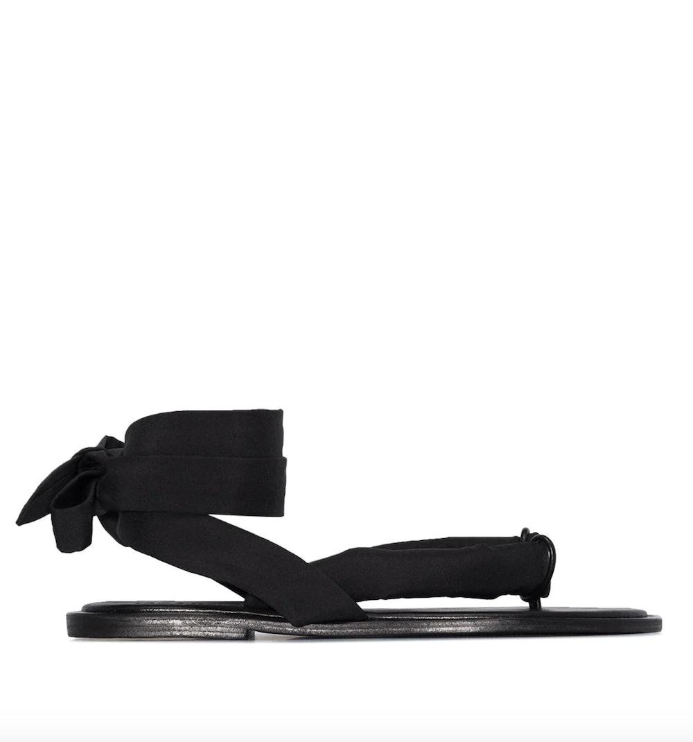 Thong-Strap Tie-Strap Sandals