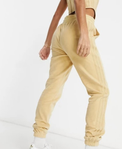 'Relaxed Risqué' Velour Sweatpants in Beige